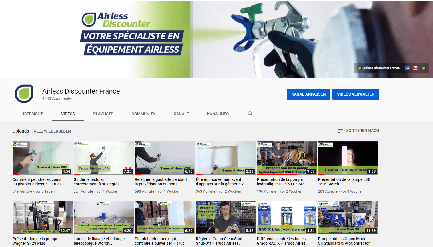 YouTube français Airless Discounter