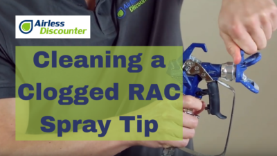 Cleaning clogged RAC spray tip